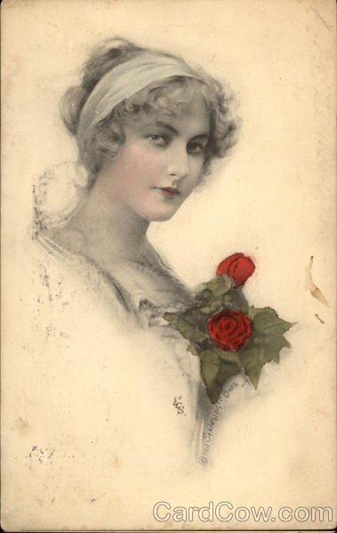 Portrait of Woman with Red Roses Women