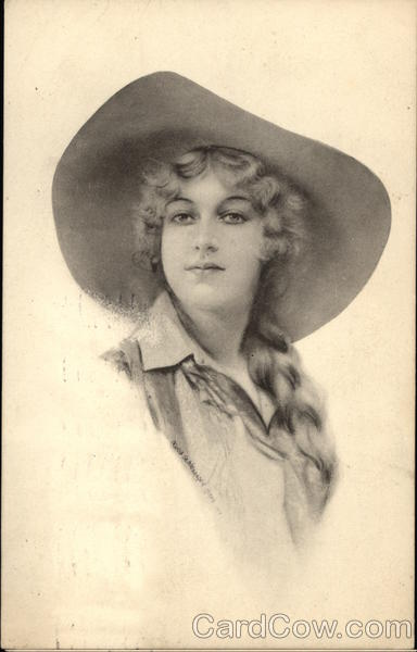 Young Woman With Braid Wears Wide-Brimmed Hat Cowboy Western