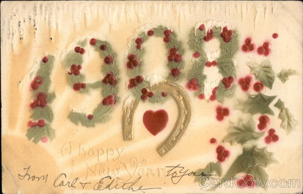 A Happy New Year - 1908 Year Dates Airbrushed