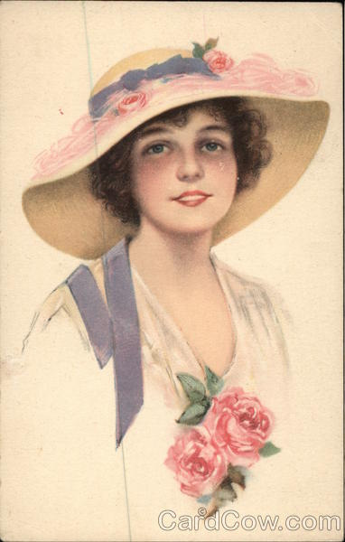Girl With Hat and Pink Roses Women