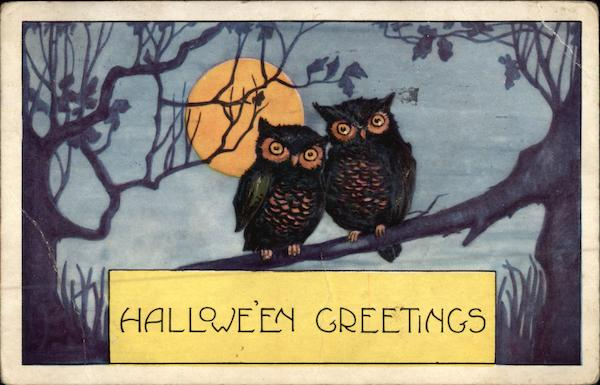 Halloween Greetings - Two Owls