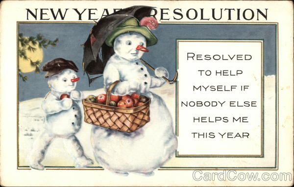 New Year Resolution Antique Postcard