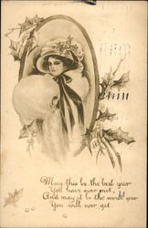 Woman in Hat with Holly