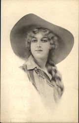 Young Woman With Braid Wears Wide-Brimmed Hat