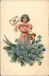 Girl Holding Envelope with Forget-me-nots