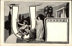 "Letter ""U"" with Roman Women on Water"