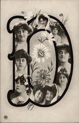 "Letter ""D"" with Women and Flowers"