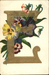 "Letter ""E"" with Pansies"