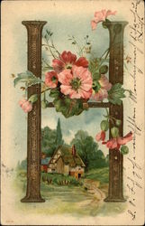 "Letter ""H"" with Flowers and Cottage"