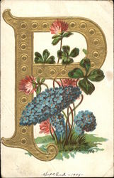 "Letter ""P"" with Four Leaf Clover and Forgetmenots"