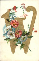 "Letter ""W"" with Flowers"