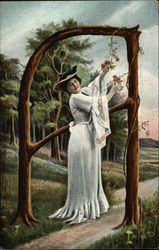 "Letter ""A"" - Woman in white dress picking flowers"