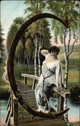 "Letter ""C"" with Grecian Woman on Bridge"