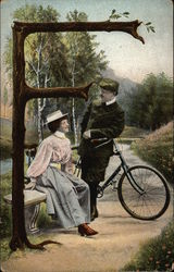 "Letter ""F"" with a Woman, Man, and Bicycle"