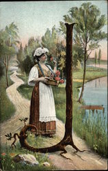 Young Woman Picking Flowers by Lake