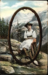 "Letter ""O"" with Young Girl sitting in the Alps"