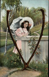"Letter ""V"" with Girl holding Parasol"