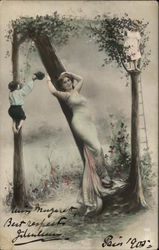 Woman Posing Leaning Against Tree