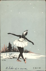Ballerina At Lake - Japanese Woodblock