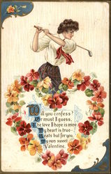 Woman with Golf Club, Heart of Flowers