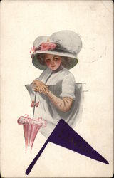 Woman with White Hat and Pink Umbrella