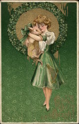 Girl with Pig and Shamrocks
