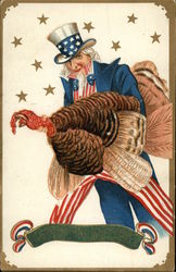 Uncle Sam with a Turkey on Thanksgiving