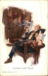 Man Smokes Pipe, With Cupid and Ladies' Images Nearby