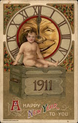 A Happy New Year To You - 1911 Postcard
