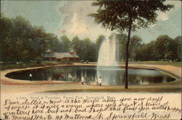 Pond & Fountain, Forest Park Springfield Massachusetts