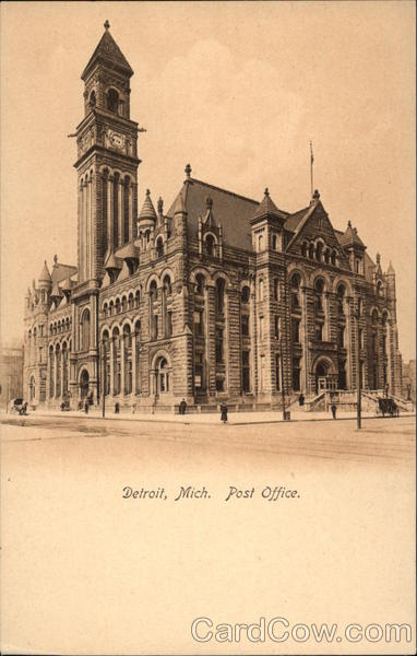 View of Post Office Building Detroit Michigan