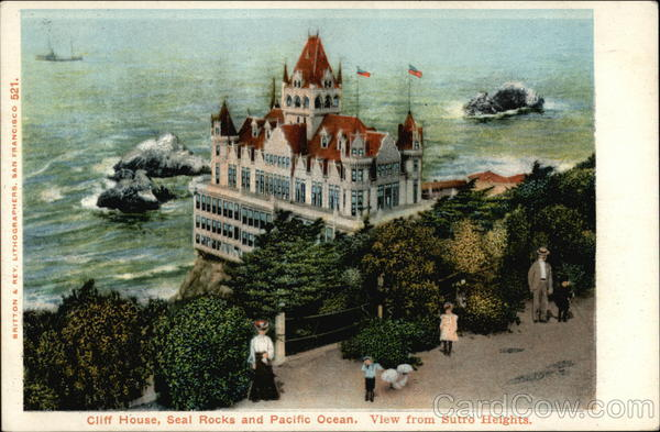 Cliff House, Seal Rocks and Pacific Ocean - View from Sutro Heights San Francisco California