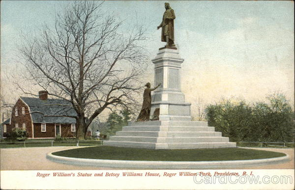 Roger William's Statue and Betsey Williams House at Roger William Park Providence Rhode Island