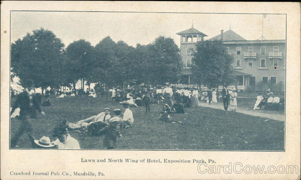Lawn and North Wing of Hotel, Exposition Park Conneaut Lake Pennsylvania