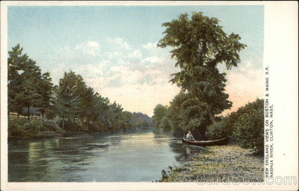 New England Views on Boston & Maine R.R., Nashua River Clinton Massachusetts
