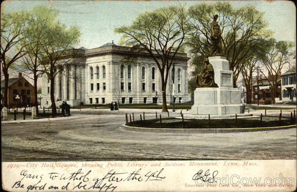 City Hall Square, Showing Public LIbrary and Soldier's Monument Lynn Massachusetts