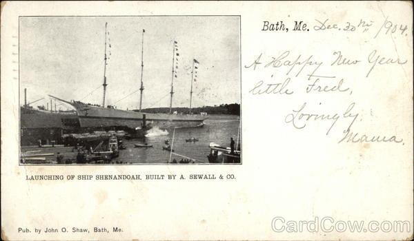 Launching of Ship Shenandoah, Built by A. Sewall & Co Bath Maine