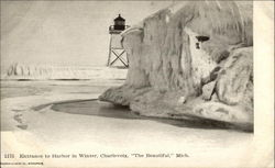 Entrance to Harbor in Winter Postcard