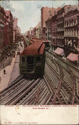 Wabash Avenue and Elevated Railroad, Looking North from Van Buren Street
