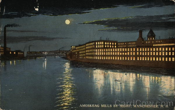 Amoskeag Mills by Night Manchester New Hampshire