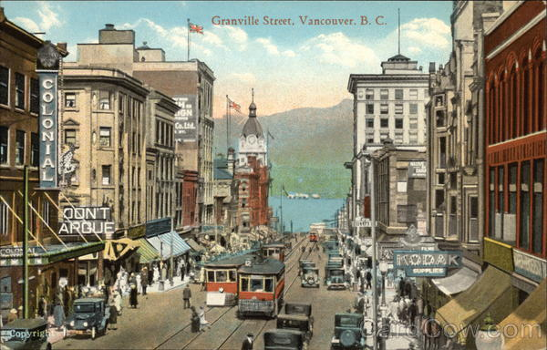 Granville Street View Vancouver Canada British Columbia