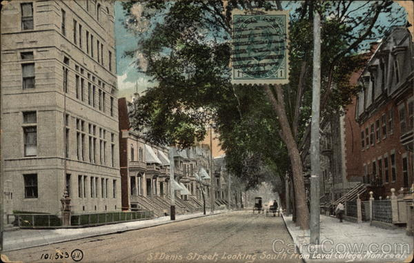 St. Denis Street, Looking South from Laval College Montreal Canada