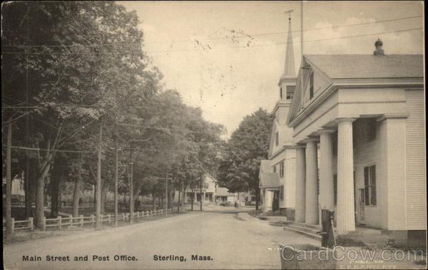 Main Street and Post Office Sterling Massachusetts