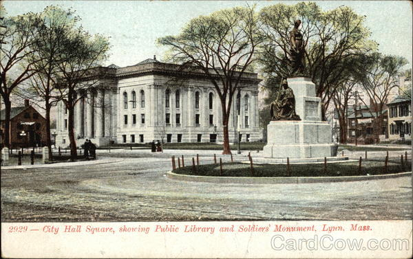 City Hall Square showing Public Library and Soldiers' Monument Lynn Massachusetts