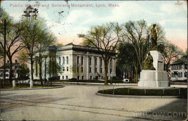 Public Library and Soldiers Monument Lynn Massachusetts