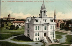 Court House, Post Office, State Capitol and M.E. Church