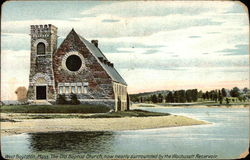 The Old Baptist Church, now nearly surrounded by the Wachusett Reservoir