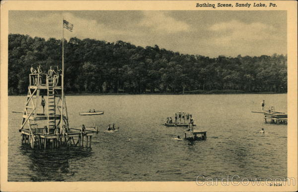 Bathing Scene Sandy Lake Pennsylvania
