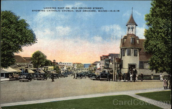 Looking East on Old Orchard Street showing Catholic Church Old Orchard Beach Maine