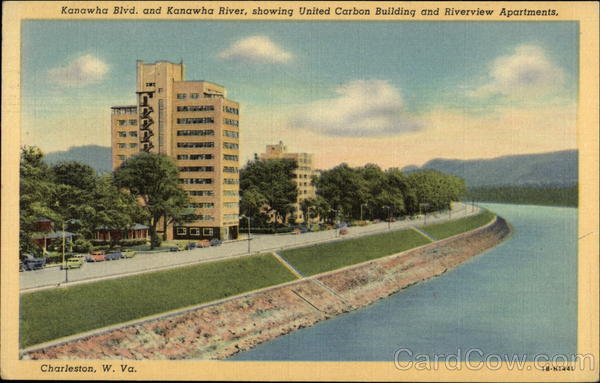Kanawha Blvd & Kanawha River, showing United Carbon Building & Riverview Apartments Charleston West Virginia